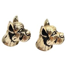 Vintage Signed Swank Boxer Dog Cufflinks in Gold Tone, Men's Jewelry