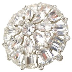 Vintage Signed Weiss Clear Rhinestone Tiered Brooch