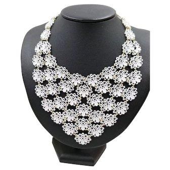 Signed Monet White Enamel Lace Filigree Choker Necklace