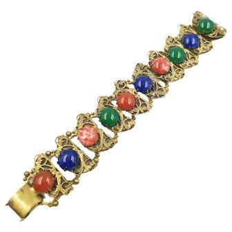 Victorian Revival Colorful Glass Cabochon Filigree Book Chain Bracelet