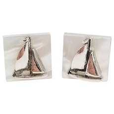 Mother of Pearl Sailboat Cufflinks