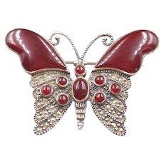 925 Sterling Silver Marcasite Carnelian Butterfly Brooch