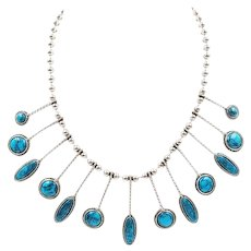 Vintage Egyptian Revival Simulated Turquoise Drops Statement Necklace