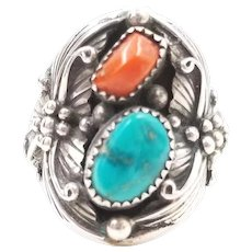 Vintage Native American Turquoise and Coral Men's Ring Signed Sterling