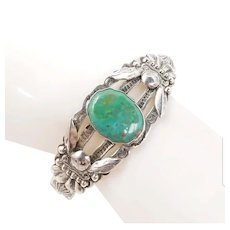 Vintage Native American Bell Trading Post Sterling Silver Turquoise Cuff Bracelet Fred Harvey Era