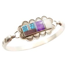 Native American Navajo Sterling Inlaid Stone Bracelet with Turquoise Sugilite Lapis Mother of Pearl