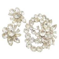 Vintage Signed Eisenberg Rhinestone Brooch and Earring Set with Multi Shape Clear Stones and Layered Construction