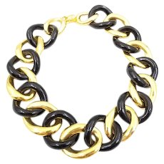 Signed Kenneth Jay Lane Black and Gold Tone Circle Link Wide Necklace, Chunky Large Gold and Black Choker