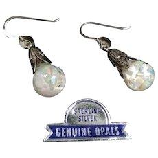 RESERVED Vintage Sterling Silver Floating Opals Earrings, Opal Sterling Earrings