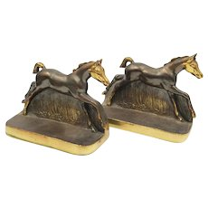"Vintage Signed DODGE Horse Bookends ""Saddle Bred Foals"""