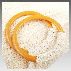 Vintage Off White Crochet Purse with Butterscotch Bakelite Bracelet Handles