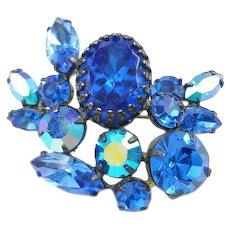 Vintage Signed Regency Blue Rhinestone Brooch