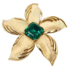Vintage Signed Trifari Flower Brooch with Emerald Green Cut Glass Stone