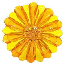 Vintage Big Yellow Orange Lucite Flower Pin with Orange Rhinestones