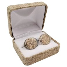 Vintage 925 Sterling 10k Gold Mayan Calendar Cufflinks Made in Mexico Signed Plafina