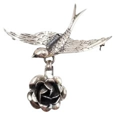 Vintage Sterling Silver Bird Brooch with Flower Dangle