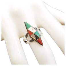 Vintage Native American Zuni Inlaid Stone Sterling Ring Size 6