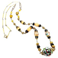 Art Deco Czech Glass Splatter Bead Necklace 1930's