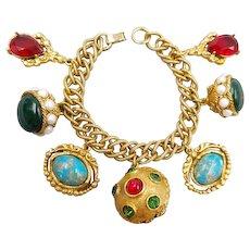 Vintage Chunky Gold Tone Jeweled Fob Charm Bracelet 1950's