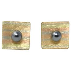 12k Gold Filled Tri Tone Cufflinks with Faux Grey Pearl