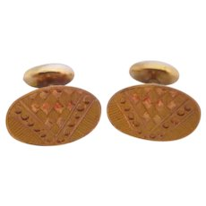 Antique Gold Filled Victorian Etched Cufflinks with Bean Back Closure