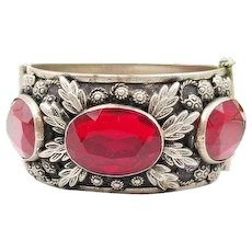 Large Panel Bracelet with Red Cut Glass Stones Marked ITALY, Italian Hinged Bangle Big Stone Bracelet, Ornate Flower Theme Bangle