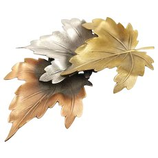 Vintage Mixed Metal Tones Large Leaf Brooch Copper Brass Silver Tone Leaf Pin,