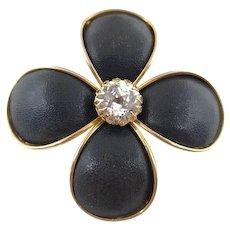 Signed Hattie Carnegie Black Flower Brooch w Large Clear Rhinestone