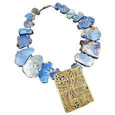 Blue Jasper Statement Necklace with Vintage Gold Tone Buckle Artisan Made