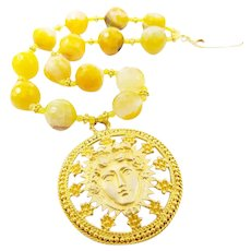 Artisan Yellow Agate and Quartz Statement Necklace with Sun Goddess Pendant