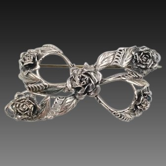 Signed HOBE Sterling Silver Bow Brooch Flowers