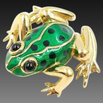 Signed Carolee Green Enamel Frog Brooch