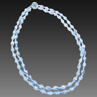 Signed SHERMAN Blue Crystal Double Strand Necklace