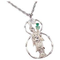 Vintage Kenneth Lane Asian Figure Pendant Green Glass Stones Necklace