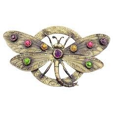 Vintage Multi Color Rhinestone Brass Butterfly Moth C Clasp Brooch