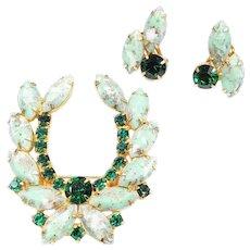 Vintage Mottled Green White Art Glass Rhinestone Brooch Clip On Earrings Set