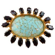 Vintage Simulated Turquoise Art Glass Cabochon Black Rhinestone Brooch Trombone Clasp