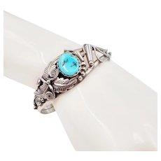 Navajo Richard Begay Sterling Silver Turquoise Cuff Bracelet