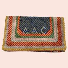 Vintage Child's Needlework Foldover Clutch Purse Hand Sewn School Project