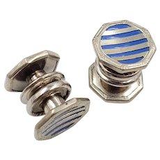 Art Deco Blue Striped Snap Cufflinks Stag Brand