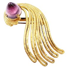 Made in France Bullet Shape Glass Cabochon Gilt Brooch Trombone Clasp
