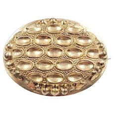Antique Victorian Gold Filled Hollow Brooch C Clasp Closure