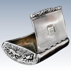 Antique Hunting Theme Silver Snuff Box, London 1826, John Jones III