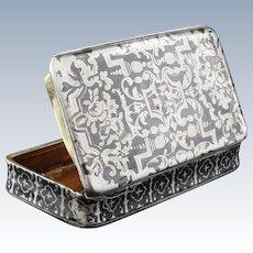 French Silver Snuff Box, Antique NIELLO, c.1880, Gilt Interior, Minerva Head