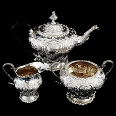 Antique Silver Teaset, Walter & Charles Sissons, London 1896, Irish Retailed