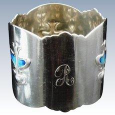Art Nouveau Silver Enamel Napkin Ring, Birmingham 1905, Abrahall & Bint