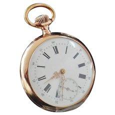 14K Gold Stem Wind Pocket Watch c.1900