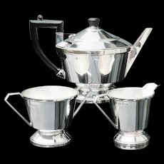 Art Deco Silver Teaset, Birmingham 1936, A L Davenport Ltd