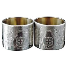 Pair of Silver Napkin Rings with Swiss Flag, European in Origin