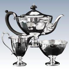Immaculate Silver Tea Set, Birmingham 1921, Adie Brothers Ltd, Pedestal Foot